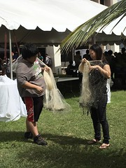 Several demonstrations, like throwing a fishing net, helped attendees get a feel for what it was like when the first Polynesians arrived in Hawaiʻi.