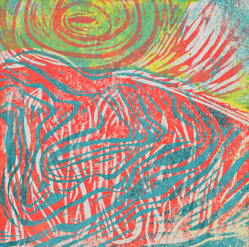 Learning linocut. Rock deformation over flames with sun 3. | by Laura Frankstone