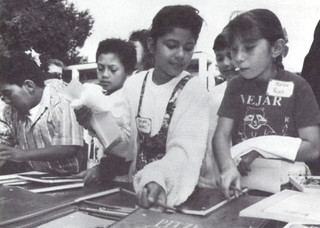 """75 fourth-graders from Pomona's Vejar Elementary School visited Pomona College in October 1990 as part of the """"I'm Going to College"""" project, which aimed to expose the students to college education in a constructive and positive way."""