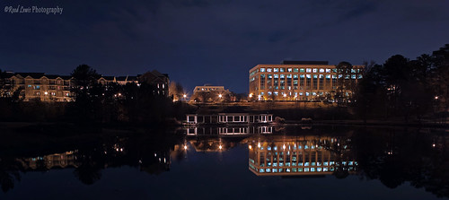 trees lake water night canon buildings landscape