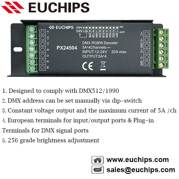 12-24VDC 4 channel RGBW constant voltage DMX512 decoder PX