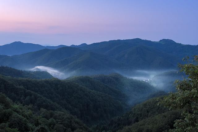 Morning fog and violet sunrise
