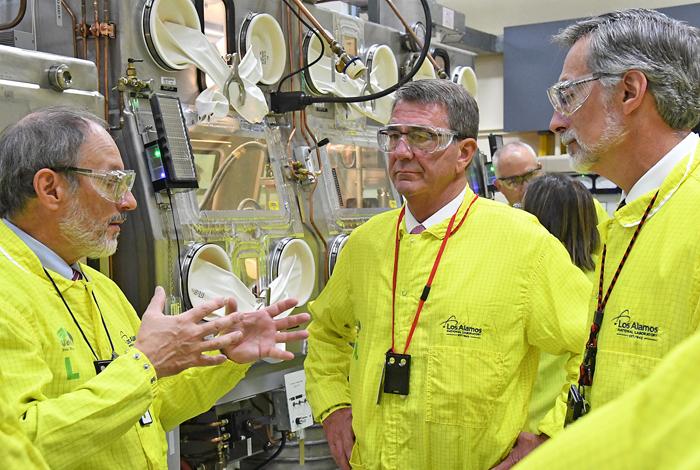 Secretary of Defense reviews plutonium operations at the Lab