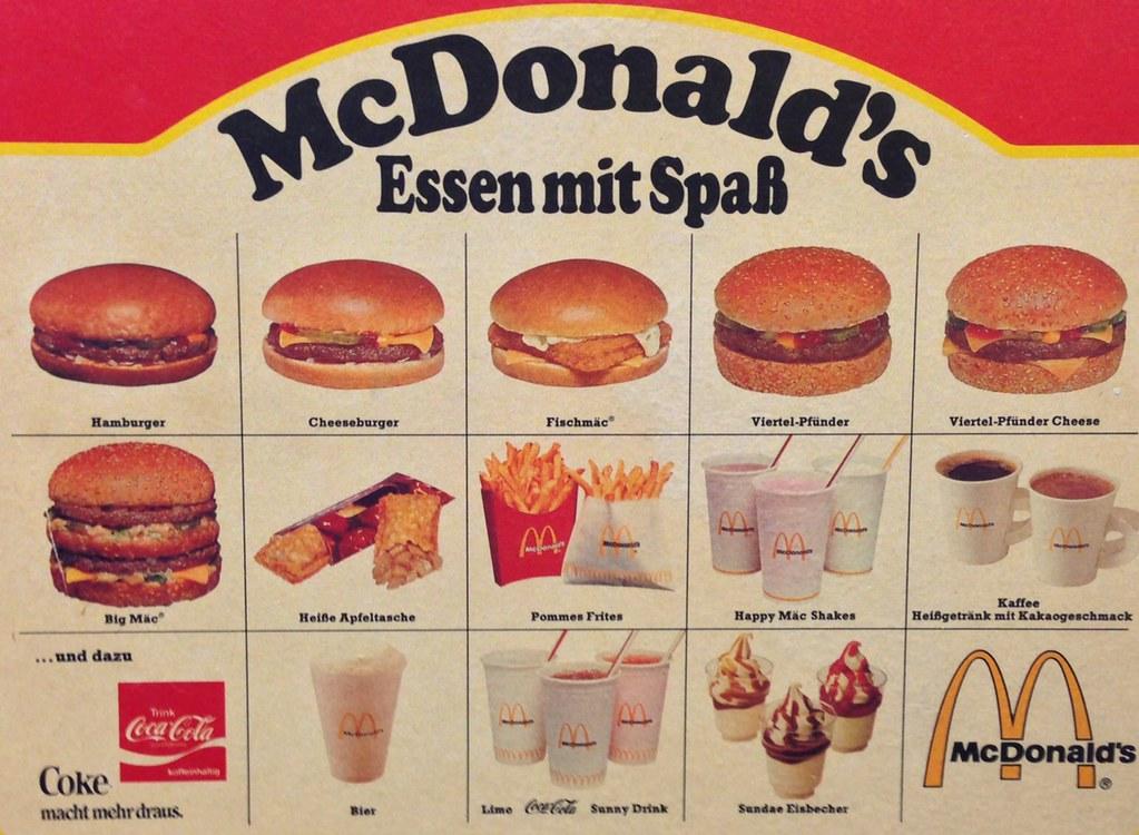 MCDONALDS GERMANY MENU