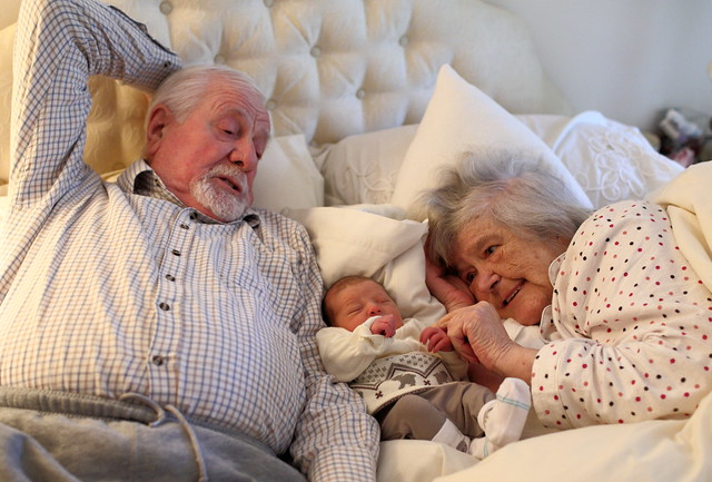 Magical Moment - Roni with Great Grandparents.