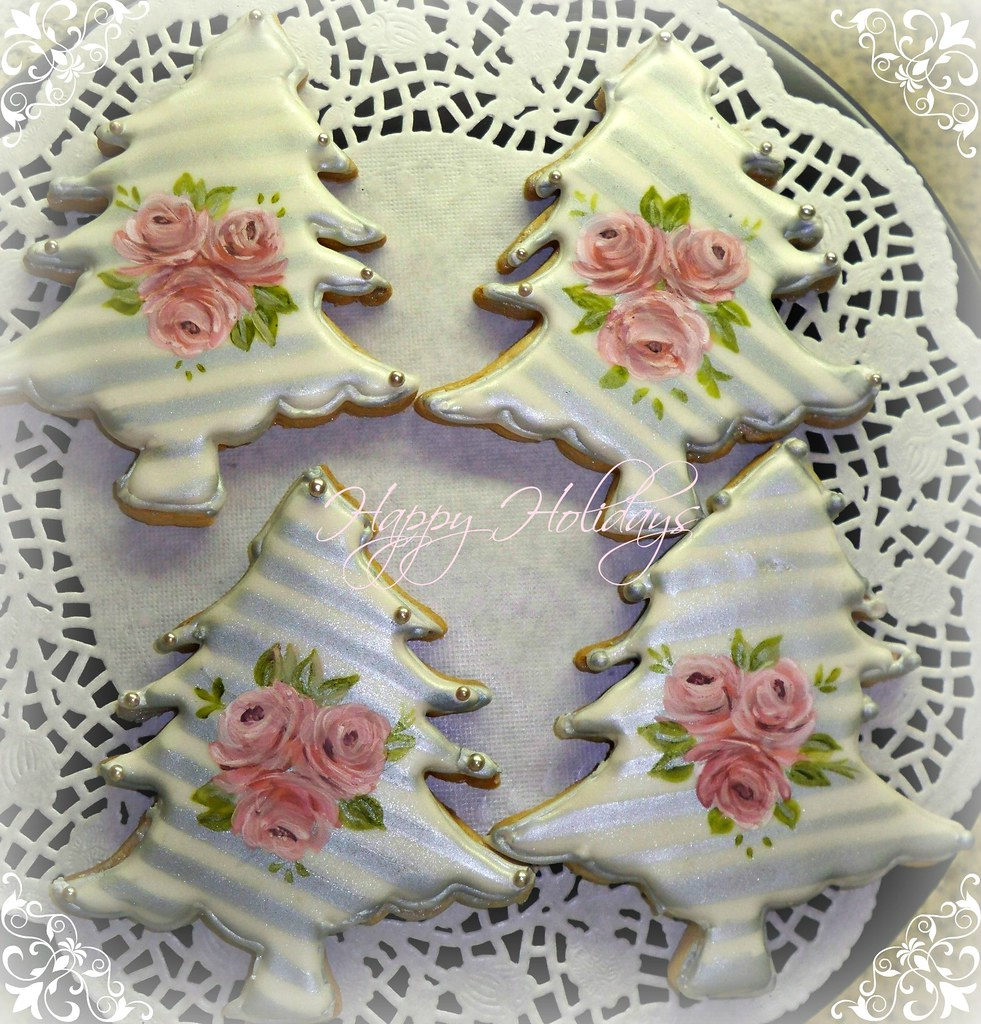 Silver And Hand Painted Roses Christmas Cookies Meriem Bens Flickr