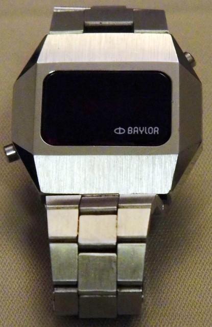 Vintage Baylor Man's 1970s Silvertone LED Watch