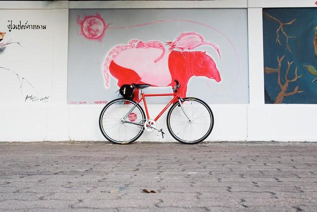 Red tapir on red bike