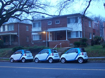 Car2Go vehicles bunched up on Hawaii Avenue NE