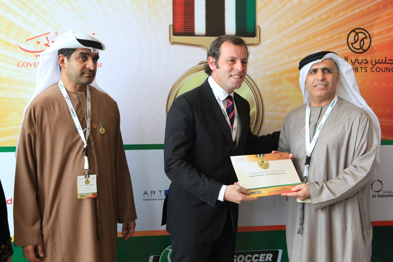 Ahmed Al Sharif, Sandro Rosell and Mattar Al Tayer