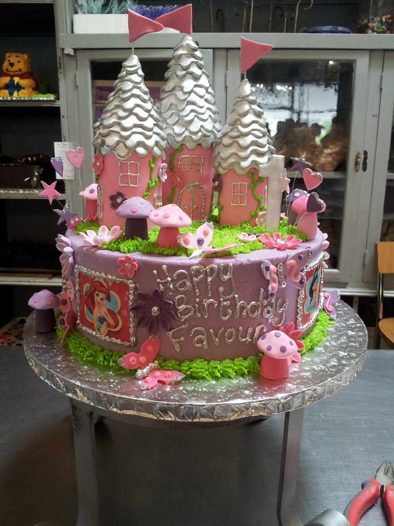 Wicked Chocolate Cake Iced In Lilac Butter Icing Decorated With 3D Princess Castle Turrets
