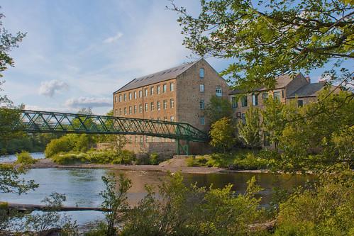 mill water river iron crossing footbridge lattice tees countydurham barnardcastle rivertees cs5 thorngatefootbridge