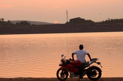 travel sunset guy water bike rural self landscape evening poetry solitude thought peace view dusk watching scenic shades land 1855mm timer gaze individual contemplation unwind selfie canon500d