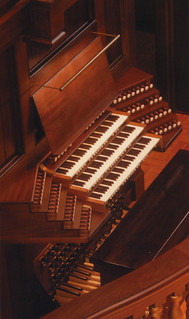 The three keyboards of the Hill Memorial Organ, designed by the C.B. Fisk Co. and installed in Little Bridges Hall of Music in 2001