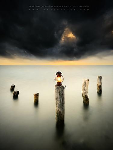 sunset sea cloud lighthouse storm portugal alone moody lantern minimalism heavy peer