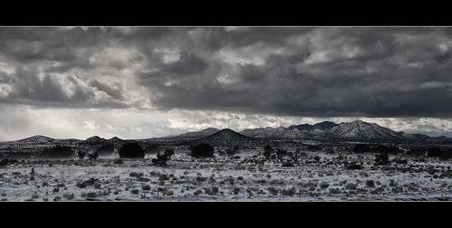 winter panorama snow newmexico santafe lacienega ortizmountains lacieneguilla