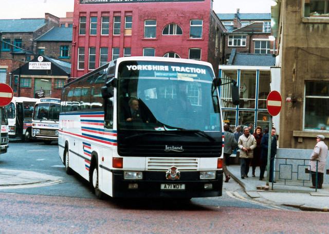 Yorkshire Traction (National NBC)  Leyland Royal Tiger Coach A71WDT, Wellington Street, Leeds.