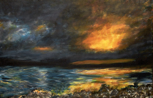 sunset usa cloud lake storm reflection art water weather painting lawrence spring artwork shoreline shore kansas