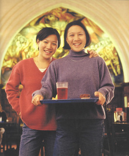Twins Yilin Hsu '00 and Jalin Hsu '00 stop off at Frary for breakfast in November 1999