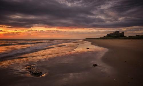 dawn sunrise sea morning reflections mood moody bamburghcastle beach bamburgh northumberland northeast nikond7000 sigma1020mmf4 srbgraduated06softgradfilter