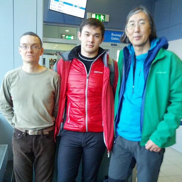 We're about to fly Kathmandu,  Nepal!  Kostya Kniznik,  Viktor Kurilov and I in Domodedovo airport.  We'll be back Jan 2X.