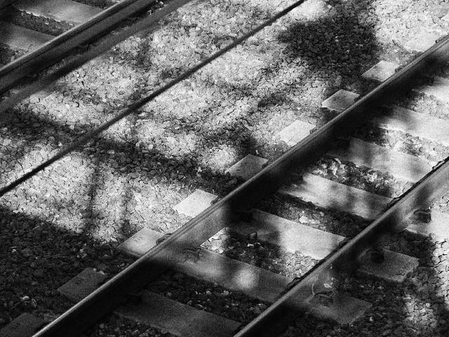 My shadow onto railway