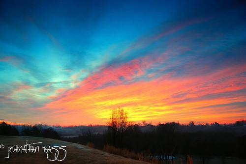 blue winter sun foothills cold field sunrise landscape fire gold twilight nikon north carolina rise d80