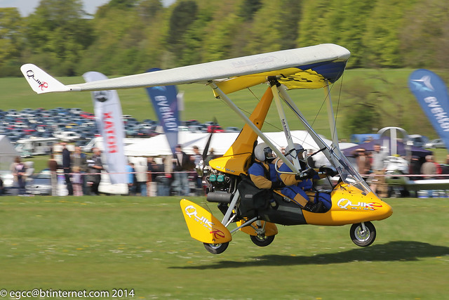 G-MKER - 2011 build P & M Aviation QuikR, arriving at Popham during the 2014 Microlight Trade Fair