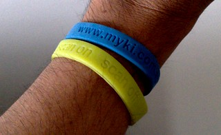 "Myki wristbands from 2009 - later they changed the term from ""scan"" to ""touch"" 