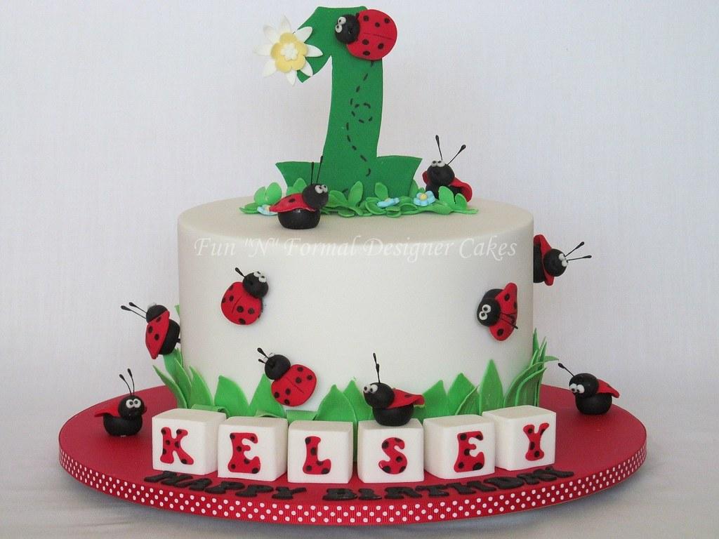 Strange Ladybug 1St Birthday Cake Melissa Woodward Flickr Birthday Cards Printable Giouspongecafe Filternl