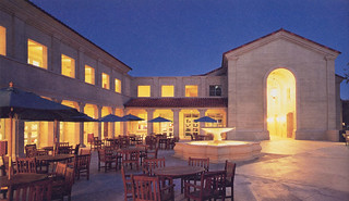 Evening in the Smith Campus Center courtyard. SCC was completed in 1999.