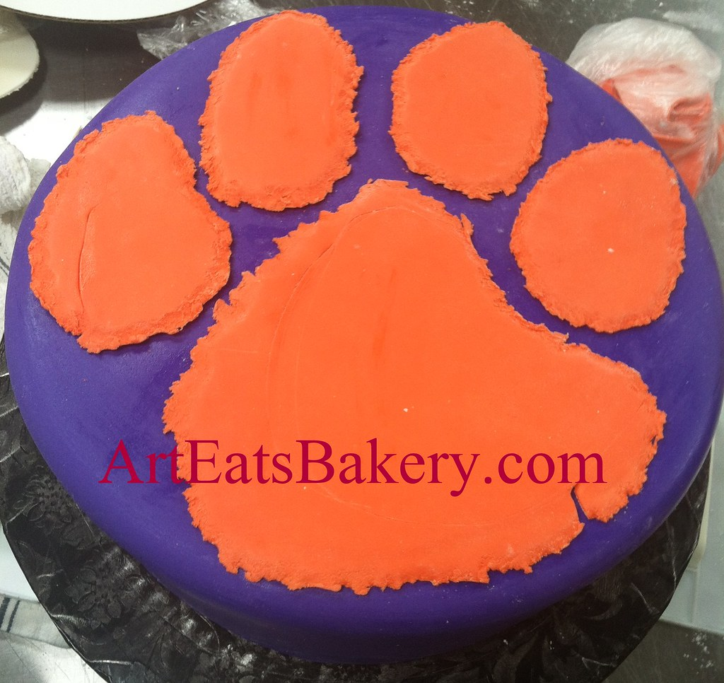 Terrific Purple And Orange Fondant Clemson Tiger Paw Custom Unique Birthday Funny Birthday Cards Online Eattedamsfinfo