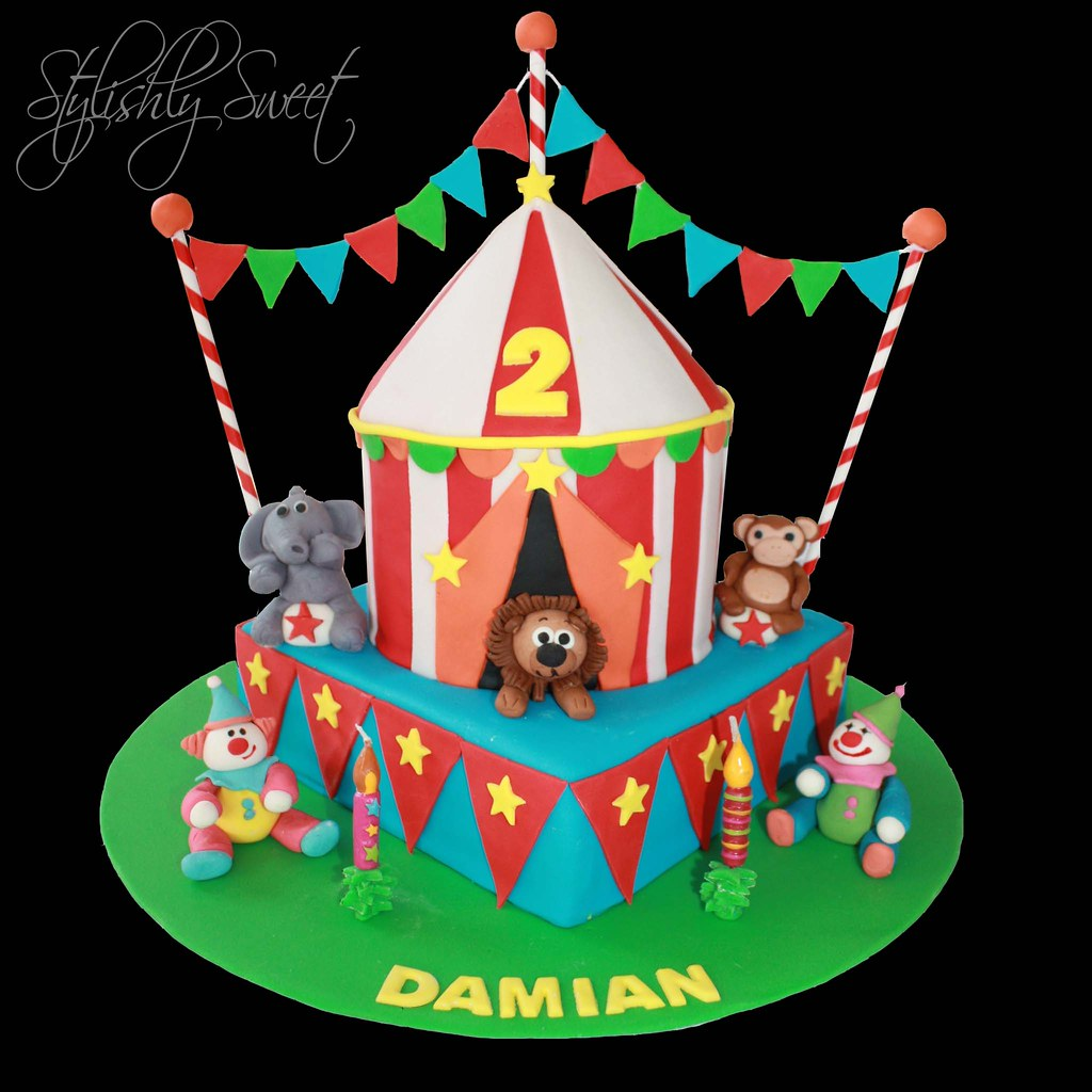 Outstanding Circus Cake Circus Themed Birthday Cake Featuring Strippe Flickr Funny Birthday Cards Online Elaedamsfinfo
