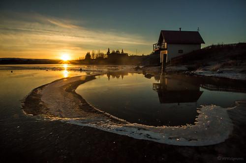 winter sunset reflection ice iceland vetur sólarlag speglun ís elliðavatn hphson