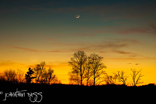 trees sunset moon field landscape nikon crescent moonrise rise waning d80