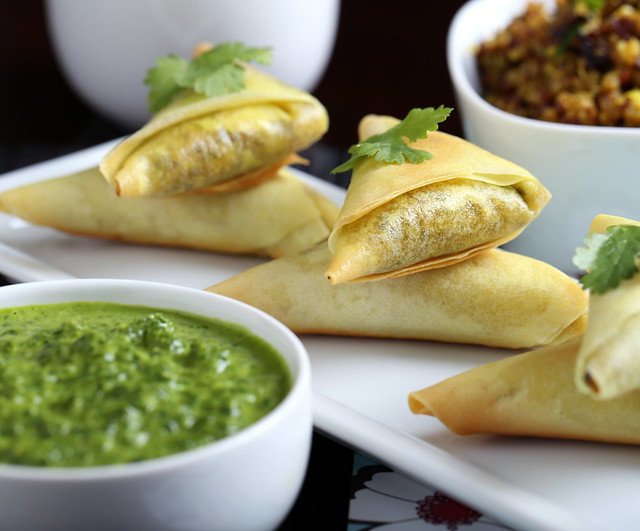 Olives for Dinner | Curried Quinoa Samosas with Cilantro-Ginger Sauce