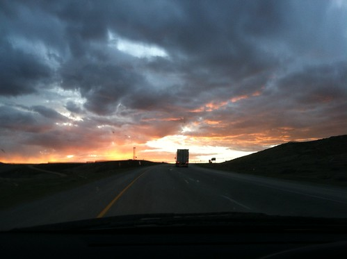 sunset clouds roadtrip freeway wyoming