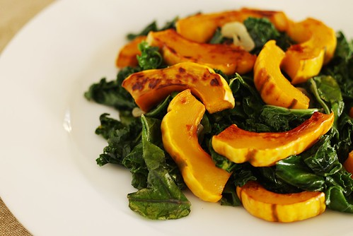 roasted delicata squash with kale | by Stacy Spensley