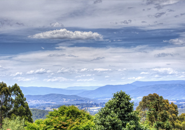 View over the Dandenongs frim the National Rhododendron Garden in Victoria