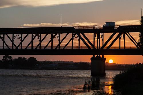 bridge sunset reflections grafton