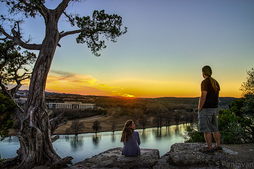 sunset sky reflection tree clouds austin river texas unitedstates lovers hdr