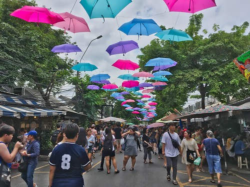 Umbrellas in the sky in Chatuchak weekend market in Bangkok, Thailand