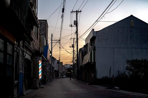 tamashima street dusk sunset