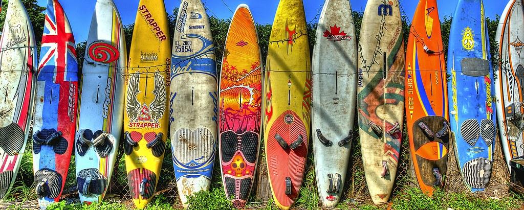 Sailboards | Short Surfboard Wall along the main road in Pai