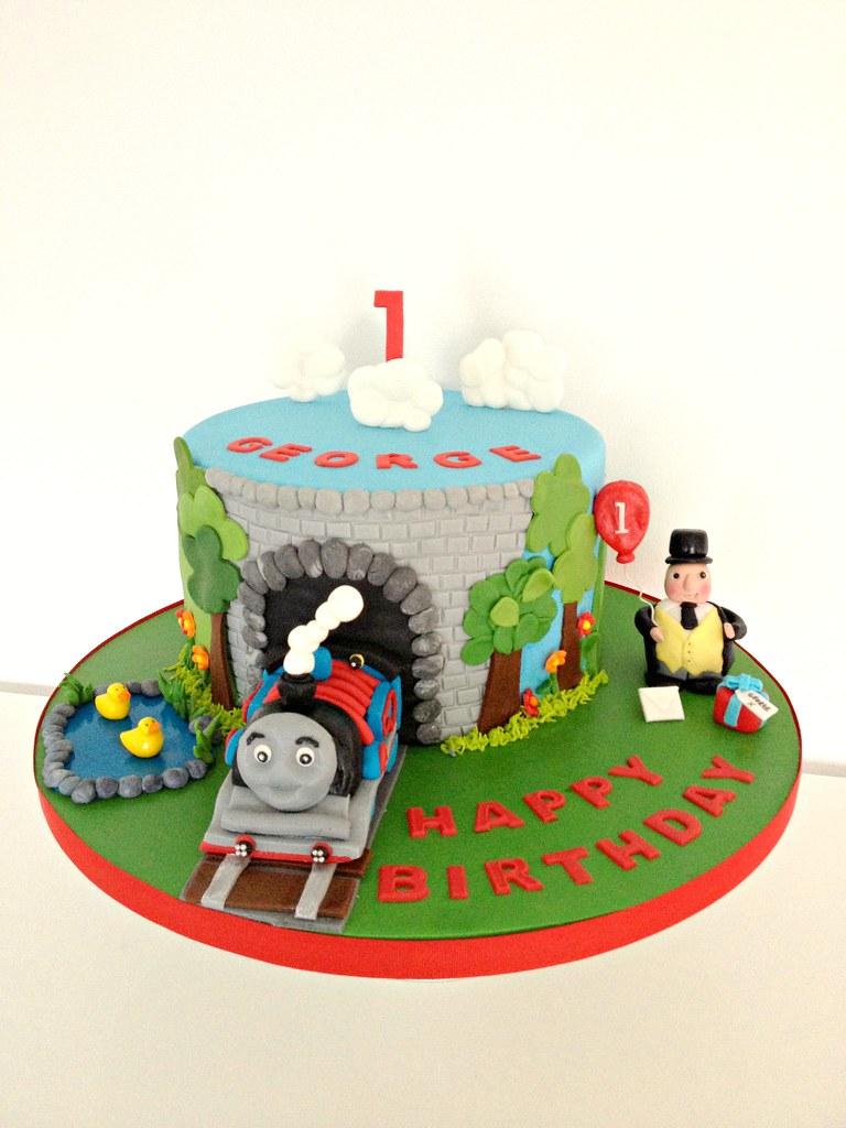 Enjoyable Thomas The Tank Engine Cake Thomas The Tank Engine 1St Bir Flickr Personalised Birthday Cards Sponlily Jamesorg