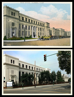 photo + postcard - Alameda High School, Then & Now