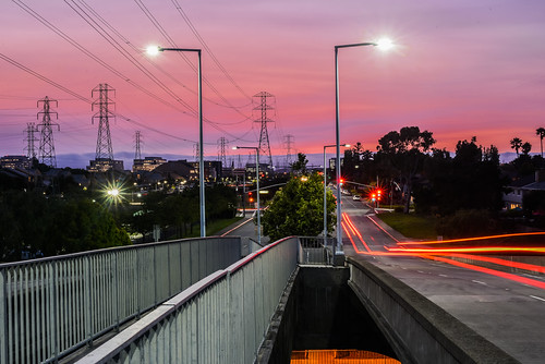 california bayarea nikon d810 color august 2016 summer boury pbo31 northerncalifornia fostercity sanmateocounty bridge sunset light pole lightstream traffic skyline urban pink sky motion over view infinity