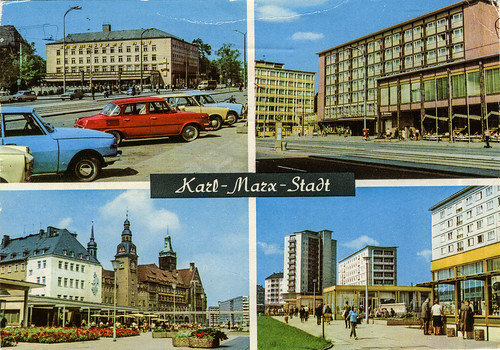 splittintheview 70s 1970 splitview postcard ansichtskarte germany deutschland gdr ddr saxony sachsen chemnitz karlmarxstadt trabant 601 wartburg 353 311 tourist škoda 1000mb barkas b1000 pickup tram bus