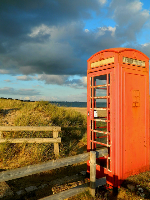 Phone booth at the beach