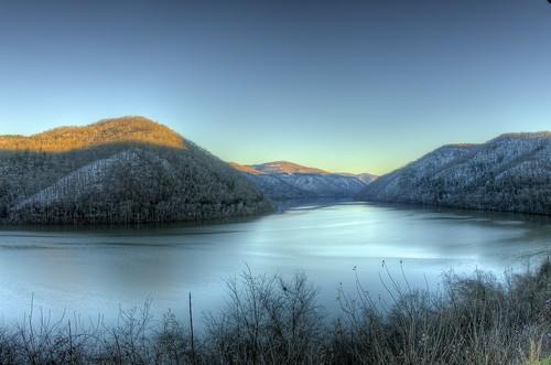 sunset usa lake water scenery wv vista hdr bluestone pentaxk5iis